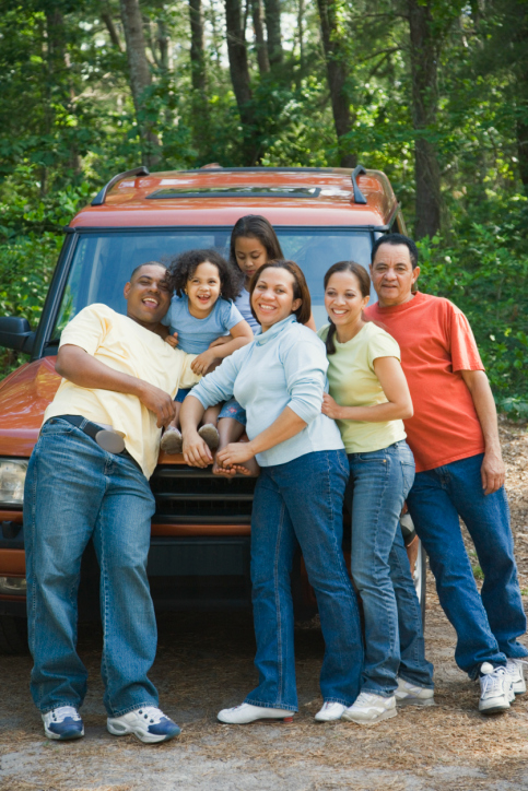 Family on car